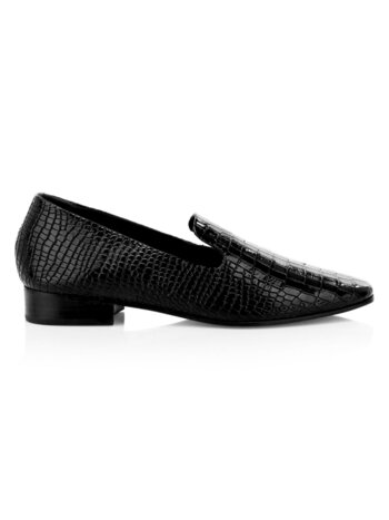 Flor Crocodile-Print Patent Leather Loafers