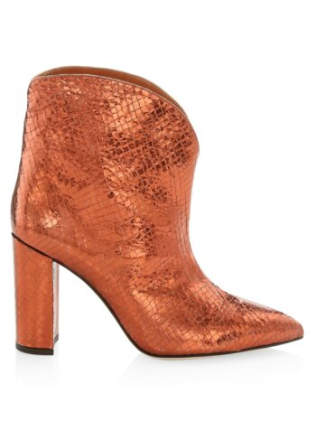 Snakeskin-Embossed Metallic Leather Ankle Boots
