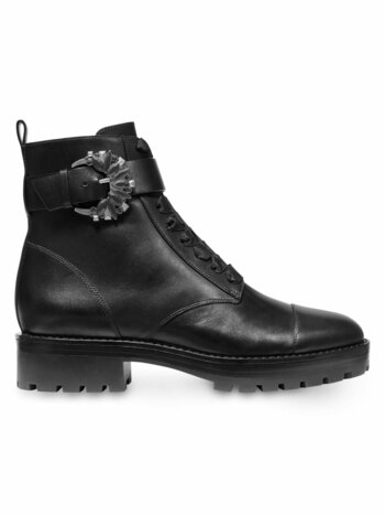 Frieda Buckle Leather Combat Boots