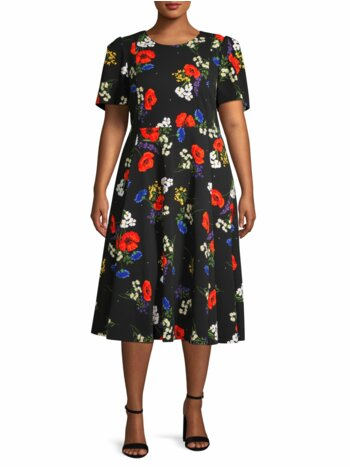 Plus Floral Puff-Sleeve Dress