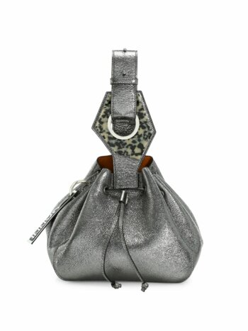 Small Metallic Leather Bucket Bag