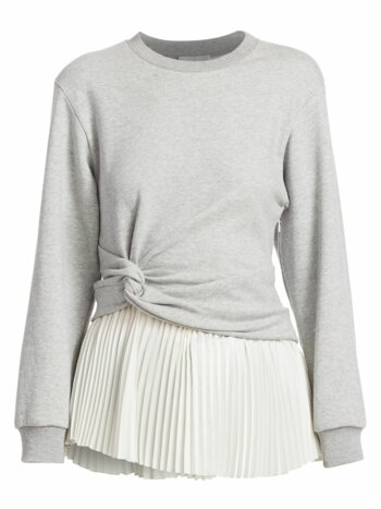 Twist Detail Pleated Peplum Long-Sleeve Tee