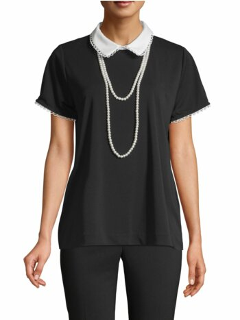 Peter Pan Collar Short-Sleeve Top