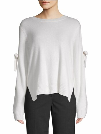 Tie-Sleeve Cold-Shoulder Sweater