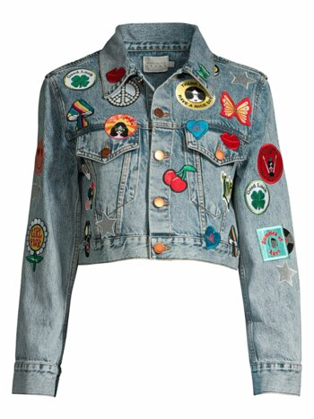 Patch Cropped Jean Jacket