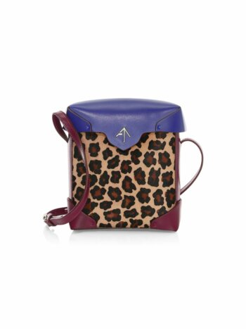 Leopard Print Leather Bucket Bag