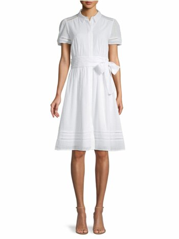 Textured Cotton Shirt Dress
