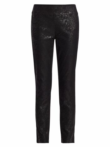 Petite Embossed Snake-Print Slim-Fit Wonderstretch Pants