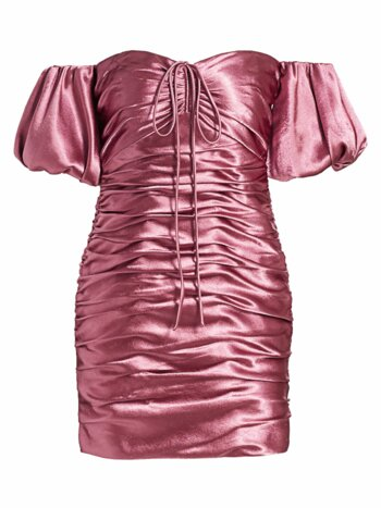 Tati Puff-Sleeve Ruched Satin Mini Dress