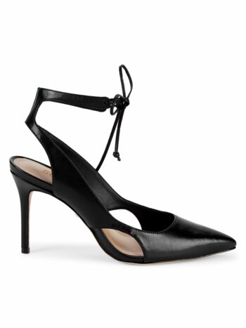 Izza Leather Self-Tie Point-Toe Pumps
