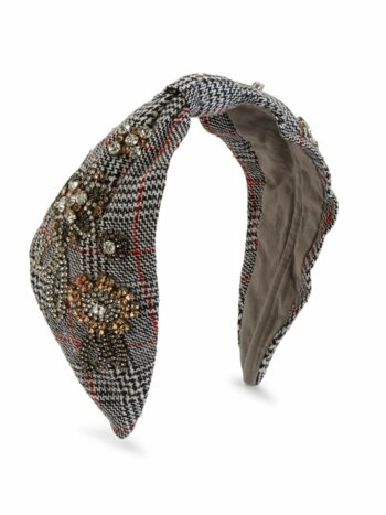 Embellished Houndstooth Knotted Headband