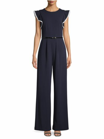 Flutter-Sleeve Wide-Leg Jumpsuit