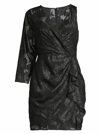 Asymmetric Metallic Jacquard Dress