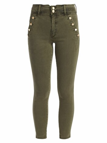 High-Rise Ankle Skinny Exposed Button Jeans