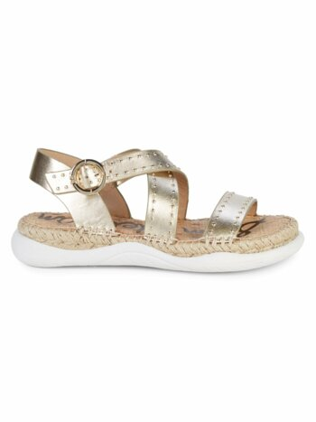 Janette Metallic-Leather Espadrille Walking Sandals