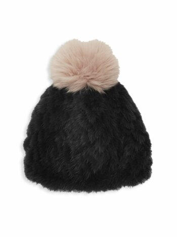 Savage Love Mink & Fox Fur Pom-Pom Beanie