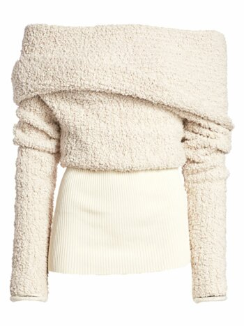Off-The-Shoulder Bouclé Wrap Sweater