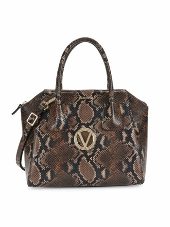 Minimi Python-Print Leather Satchel