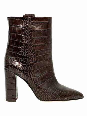 Croc-Embossed Leather Ankle Boots