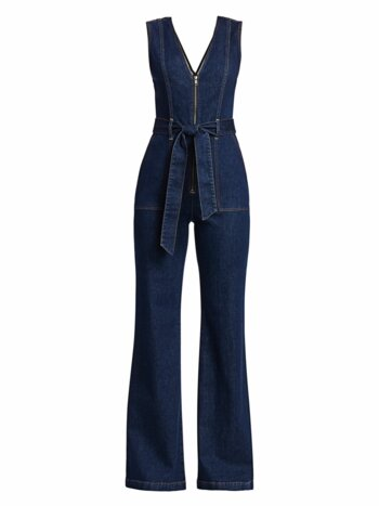 Plunging V-Neck Denim Jumpsuit
