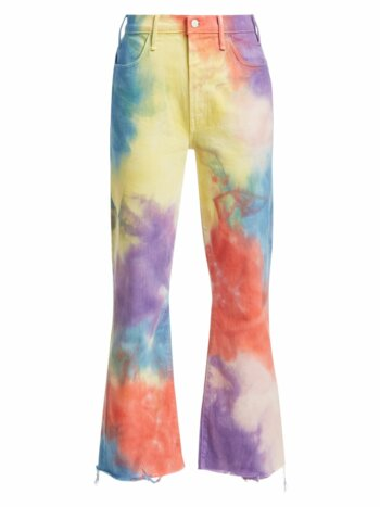 Hustler High-Rise Ankle Crop Fray Rainbow Tie Dye Jeans