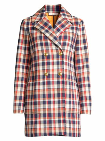 Plaid Jacquard Double-Breasted Peacoat