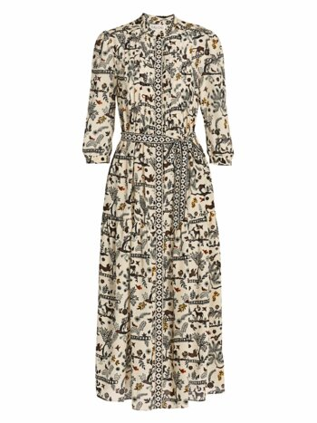 Remi Savanna Print Silk Midi Dress