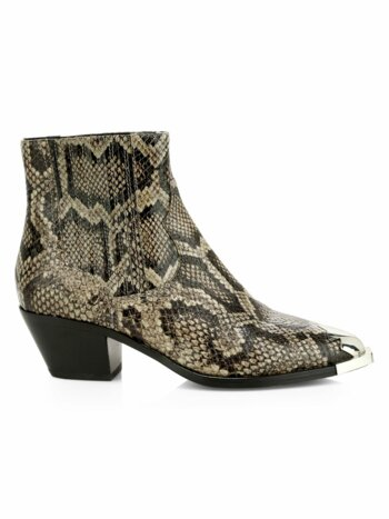 Floyd Snakeskin-Embossed Leather Ankle Boots
