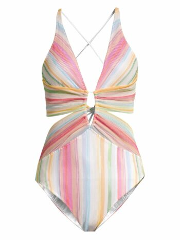 Rainbow Stripe Cutout One-Piece Swimsuit