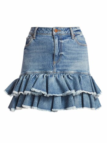 Good High-Rise Ruffle Denim Skirt