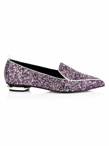 Beya Glitter Leather Loafers