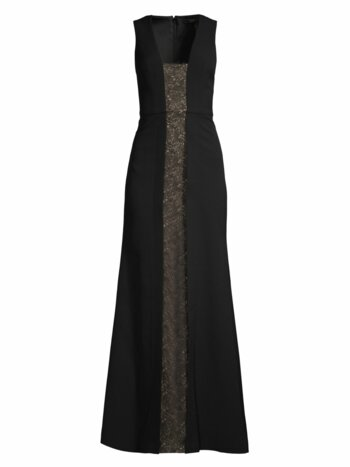 Lace Panel Sleeveless Gown