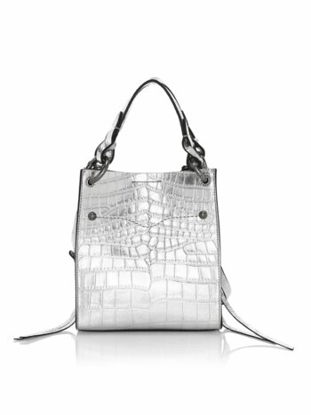 Mini Kate Croc-Embossed Metallic Leather Tote