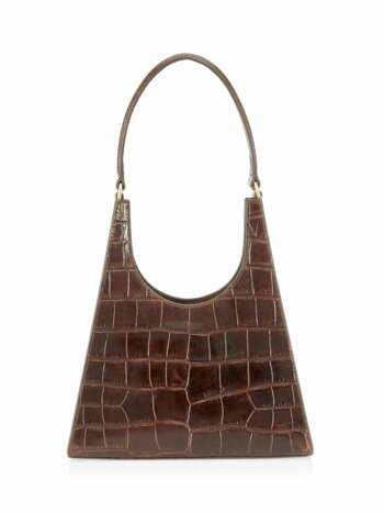 Rey Crocodile-Embossed Leather Top Handle Bag
