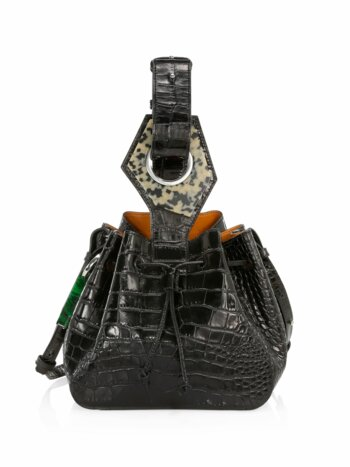 Small Croc-Embossed Leather Bucket Bag