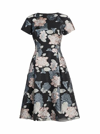 Floral Jacquard Metallic Organza A-Line Dress