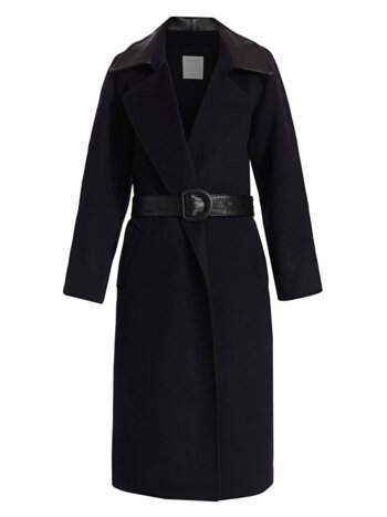 Linna Leather-Accent Belted Wrap Coat