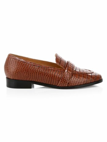 Romina Crocodile-Embossed Leather Penny Loafers