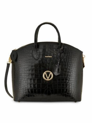 Bravia Croc-Embossed Leather Dome Satchel