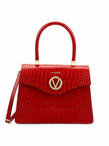 Melanie Croc-Embossed Leather Shoulder Bag