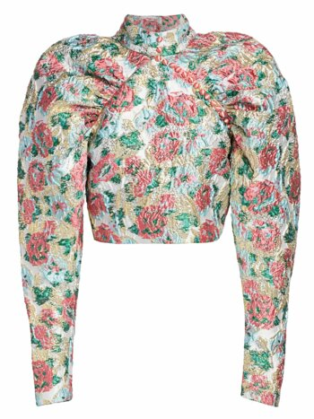 Kim Floral Jacquard Puff-Sleeve Blouse