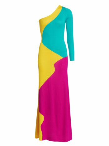 One-Shoulder Colorblock Maxi Bodycon Dress
