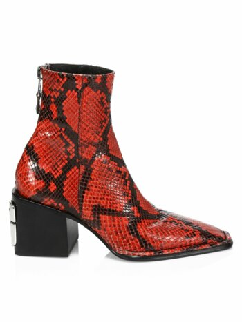 Parker Square-Toe Python-Embossed Leather Ankle Boots