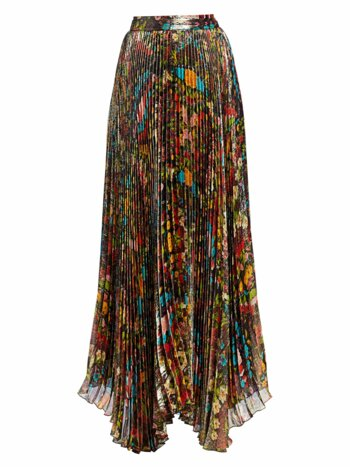 Katz Floral Pleated Maxi Skirt