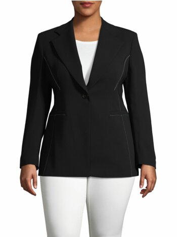 Contrast-Stitched Long-Sleeve Jacket