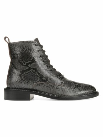 Cabria Snakeskin-Embossed Leather Combat Boots