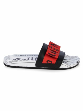 Logo Newspaper-Print Pool Slide Sandals
