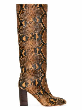 Snake-Embossed Leather Knee-High Boots