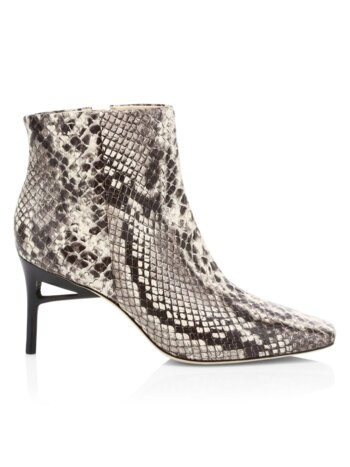 Arezoo Snake-Print Leather Booties