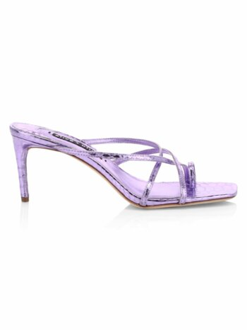 Sabrine Metallic Croc-Embossed Leather Sandals